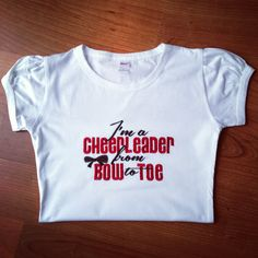 Cheerleader Shirt by LillysBowtique on Etsy, $18.00 How adorable- maybe a gift for my little niece who is starting cheerleading this fall.