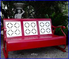 Vintage Porch Glider Red/white Metal Lawn/porch/patio Chair/bench/swing/bench | Garden Swings. Too cute