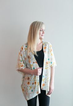 Chiffon Cake Kimono – mint floral (ships in 1 to 2 weeks) $68.00  Our new pretty kimono prints will make you swoon! Feel so feminine and put together with this simple piece. We wear ours with jeans or leggings, a tank top and have the best spring/summer outfit in a snap! Are you going away or needing something for a summer wedding? This is the thing for you! It packs so small and will complete any outfit or act as a sweet swimsuit cover up. Buttercream Clothing Chiffon Cake, Swimsuit Cover, We Wear, Summer Wedding, Summer Outfits, Kimono Top, How To Make, How To Wear, Cover Up