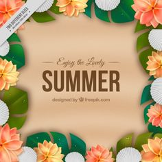 #Summer #Background that I have designed for #Freepik #shells #realisticdesign #Sand #Beach #Flowers #TropicalFlowers #PalmLeaves #Elegantdesign #GraphicDesign #Vector #FreeVector