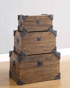 Rustic Trunks With Stained Wood Finish