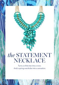 Give your outfit an instant pick-me-up with this statement turquoise necklace.
