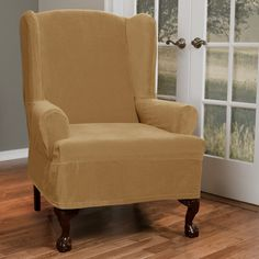 Found it at Wayfair - Collin Stretch T-Cushion Wing Chair Slipcover