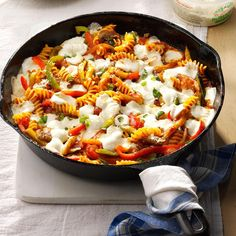 Spicy Veggie Pasta Bake Recipe -My dad cooked with cast-iron skillets, so when I do, I remember his amazing culinary skills. I keep the tradition going with my veggie pasta. —Sonya Goergen, Moorhead, Minnesota