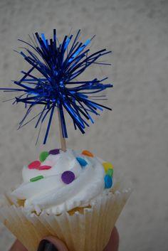Royal Blue Tinsel Cupcake Topper. 20 pieces