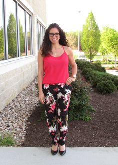 Coral Camisole & Floral Pants