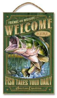 "Largemouth Bass Friends & Wildlife Welcome Wooden 10"""" x 16"""" Sign"