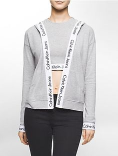 a lightweight flyaway style hoodie with a logo elastic band trim for a modern, sporty look @ calvinklein.com