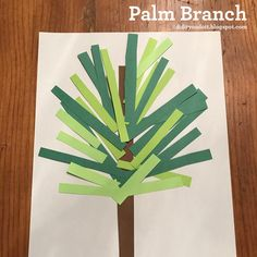 Social Media Plan - Let's make a palm branch! Gather a piece of white and brown construction paper, different shades of green paper, scissors, and glue. Preschool Bible Activities, Bible Crafts For Kids, Sunday School Activities, Sunday School Crafts, Easter Activities, Toddler Crafts, Preschool Crafts, Easter Crafts, Palm Sunday Craft