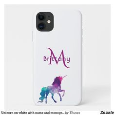 Unicorn on white with name and monogram iPhone 11 case Iphone 11, Apple Iphone, Iphone Cases, Plastic Case, Unicorn, Christmas Gifts, Monogram, Names, Gift Ideas