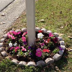 Flower bed around mail box