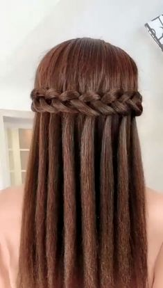 Easy Hairstyles For Long Hair, Down Hairstyles, Wedding Hairstyles, Wedding Updo, Updo Hairstyle, Hairstyles Videos, Diy Wedding, Waterfall Hairstyle, Wedding Makeup
