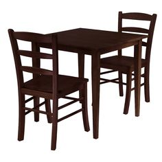 Rich, warm and inviting describe this square Shaker-style dining table and 2 Ladder Back Chair Set finished in an Antique Walnut stain. With slightly tapered legs, the classic design combines a look that will go well with many decors and is an ideal size for a kitchen eating area or small dining room - $207.71 Click to know more: http://3piecediningsets.com/?product=winsome-groveland-square-dining-table