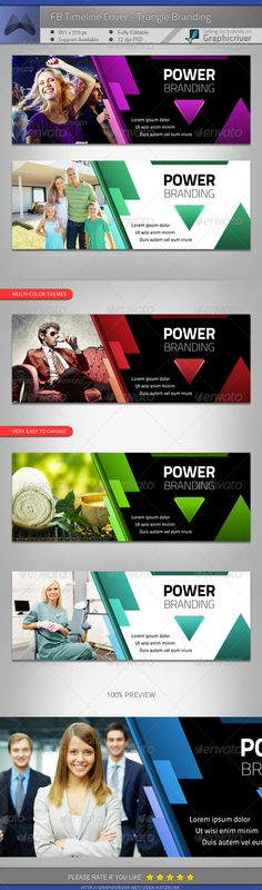 FB Timeline Cover - Power Triangle Branding #GraphicRiver [ Facebook Timeline Cover – Power Triangle Branding] 851×315px, 72dpi, RGB PSD file Easy to customize and Multiple Color Themes Incl. One-click color theme change.—> Charming Red/ Power Blue/ Eco Green/ Dancing Purple Free font used only & download links attached. Preview images/photos not included in the download, for illustration only. Font Used:Titillium Text Exclusive on Graphicriver only. [ Stocks credits – you can purchased on…
