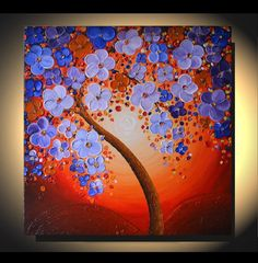 LARGE ORIGINAL Blooming Cherry Tree Painting Heavy Palette Knife Texture Art