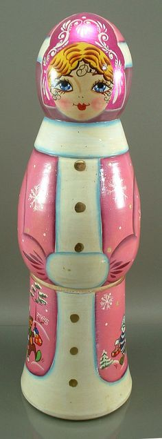 "Russian Wooden 13.5"" Doll Cat Dog Winter Scene Large Pink Vintage Bottle Holder"