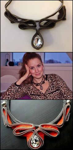 truebluemeandyou: DIY Zipper Necklace. Several Tutorials from Make It & Fake It.    Top Photos: DIY from Fake It & Make It, Bottom Photo: Etsy store Reborne Jewelry here. *You can do this is all colors with a wide variety of zippers. For more zipper jewelry check out: truebluemeandyou.tumblr.com/tagged/zippers
