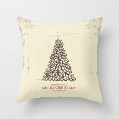 Vintage Christmas Tree: Wishing You a Very Merry Christmas Throw Pillow by The Blonde Dutch Girl - $20.00