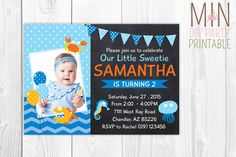 Under the Sea Birthday Photo Invitation,Under the Sea Girl DIY ,Under the Sea Birthday Invitation,Photo Birthday Invitation,Nautical Invite by minprintable on Etsy https://www.etsy.com/listing/260481723/under-the-sea-birthday-photo