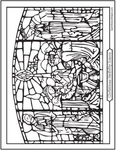 stained glass nativity coloring page the birth of jesus the holy family