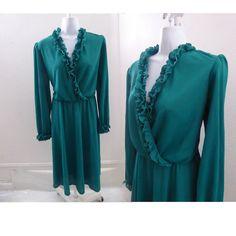 19a722a24bf Vintage 70s Wrap Dress Size M L Green Jersey Disco Secretary Vtg 80s  Blouson  fashion