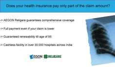 AEGON Religare health insurance covers all surgeries even day care ones, gives full payment even if your claim is lower, guaranteed renewability till age of 85 and more. Get a free quote online.  Visit for more information :   www.aegonreligare.com/hea Buy cheap Individual healthcare coverage today.