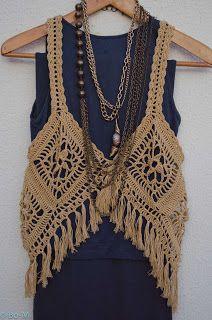 crochet granny vest with fringe