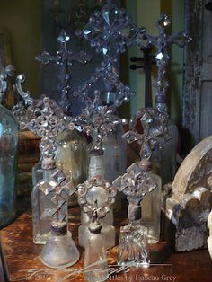 Etheral Cross Bottles, Crystal Topiaries and Wreaths by Isabeau Grey