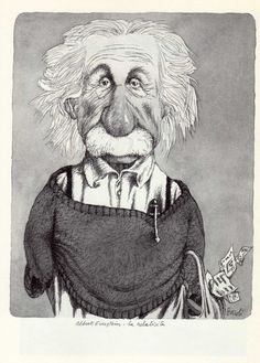 Albert Einstein by Tullio Pericoli  ~Via Uwe Schlemmermeyer