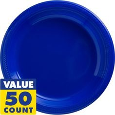 Royal Blue Plastic Dinner Plates 50ct - Party City