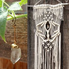 Macrame wall hanging on driftwood with quartz crystal point   http://www.freecreatures.etsy.com
