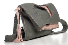 Grey  Pink Leather Bag  Handmade Geometric by EleannaKatsira, €245.00