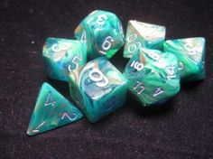 FRP GAMES - PRODUCT - Chessex RPG Dice Sets: Green-Gold w/Silver Lustrous Polyhedral 7-Die Set