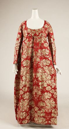 Dress - silk - 1790s. Looks like it's been made out of an older dress.