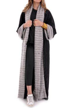 Lulas_closet 2017 Winter Bisht Collection available now at MyDikaan.com Hijab Style Dress, Abaya Style, Estilo Abaya, Gilet Kimono, Abaya Pattern, Modern Abaya, Moslem Fashion, Black Abaya, Moroccan Dress