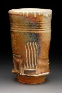 A tumbler from gas soda kiln ~ By Terra Mulliner.