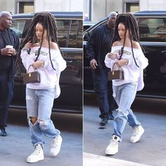 Rihanna Fucking Awesome white Break Thru hoodie, Fenty x Puma white platform sneaker boots, Louis Vuitton x Frank Gehry Twisted Box handbag