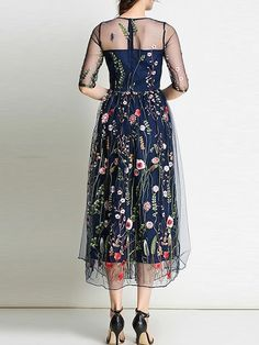 Sheer Gauze Flowers Embroidered Dress -SheIn(Sheinside) - - Sheer Gauze Flowers Embroidered Dress -SheIn(Sheinside) Source by barnestown Dress Brukat, Blouse Dress, Mesh Dress, Sheer Dress, Knit Dress, Lace Dress, Elegant Dresses, Pretty Dresses, Cocktail Dresses With Sleeves