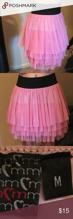 PINK TULLE LAYERED SKIRT ** Fun Outift!! Purchased from boutique -- Great for parties, girls trips, or costumes!! ** Worn about 4 times ** Reason for selling: no need for it - want someone else to enjoy this fun piece!! Skirts A-Line or Full