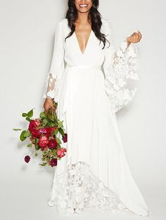 Choies Limited Edition White Angel Lace Panel Maxi Dress