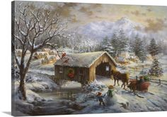 Nicky Boehme Premium Thick-Wrap Canvas Wall Art Print entitled Covered Bridge, None