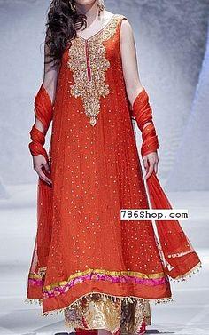 Orange Crinkle Chiffon Suit | Buy Pakistani Designer Party Dresses Online in USA | www.786shop.com
