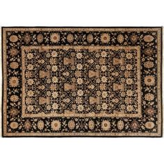Darya Rugs One-of-a-Kind Ottoman Hand-Knotted Black Area Rug