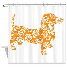 Hawaiian Doxie Dachshund Shower Curtain on CafePress.com