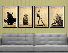 for a big boy room :: Star Wars Posters Set. $50.00, via Etsy.