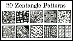 Easy- 20 Zentangle Patterns for Beginners - YouTube