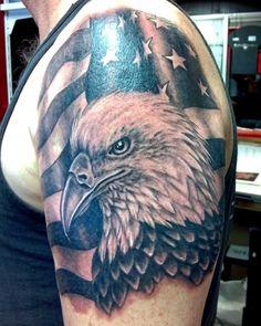 Shoulder Sleeve Tattoos, Shoulder Armor Tattoo, Skull Sleeve Tattoos, Japanese Sleeve Tattoos, Body Art Tattoos, 3d Tattoos, Tattoo Ink, Arm Tattoo, Flag Tattoos