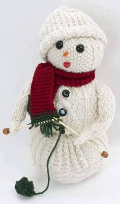 FREE Christmas Knitting Pattern - knitting snowman by Cascade