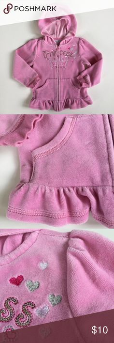 2T Kids R US Pink Velour Peplum Princess Jacket Size 2T Pink Velour sweater with beautifully embroidered hearts and silver sequins on the front. Warm and stylish. Worn a few time. Heat tag and full zip. Minor wash wear. Minor pills on the inside (see good area as example - IMO minor). I would categorized this great condition. Kids R Us Shirts & Tops Sweatshirts & Hoodies