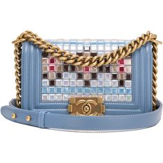 Pre-Owned Chanel Light Blue Lambskin Small Mosaic Boy Bag ($9,775) ❤ liked on Polyvore featuring bags, handbags, blue, chanel handbags, embroidered purse, light blue handbags, pre owned handbags and multicolor handbags